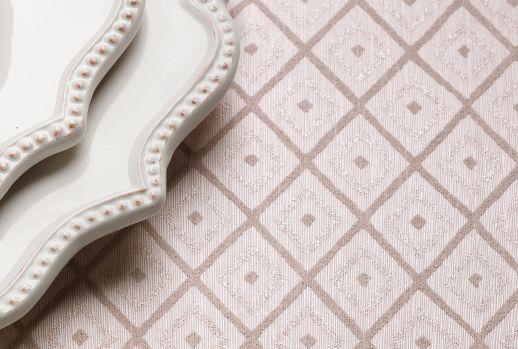 Papel pintado Abigail rosa blanco Ver habitación