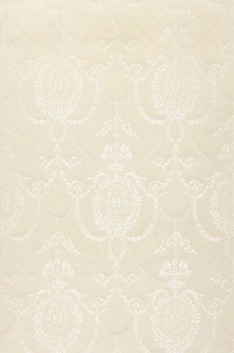 Papel pintado Pogoda Brillante Efecto textil Damasco barroco Blanco crema Blanco grisáceo brillante