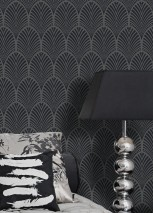 Papel pintado Lyria Patrón mate Superficie base brillante Abanicos Art Déco Gris oscuro brillante Negro