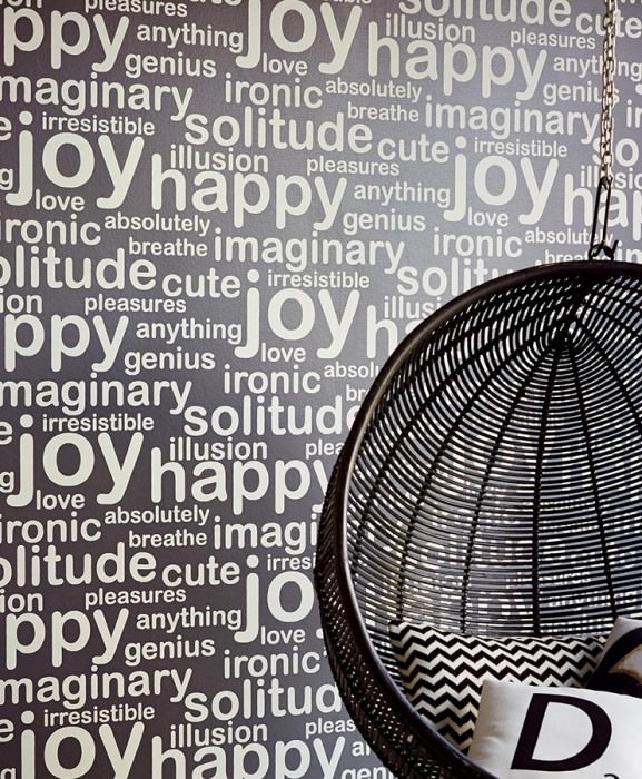 Wallpaper Beyla Matt pattern Looks like textile Shimmering base surface Words Black grey shimmer Light ivory