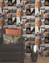 Papier peint Texel Mat Bâtiments Objets Personnes Noir Beige brun Jaune orange Gris Blanc gris Rouge