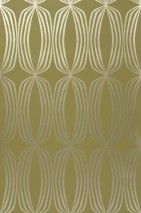 Wallpaper Levana Shimmering pattern Matt base surface Rhombuses Light green Gold