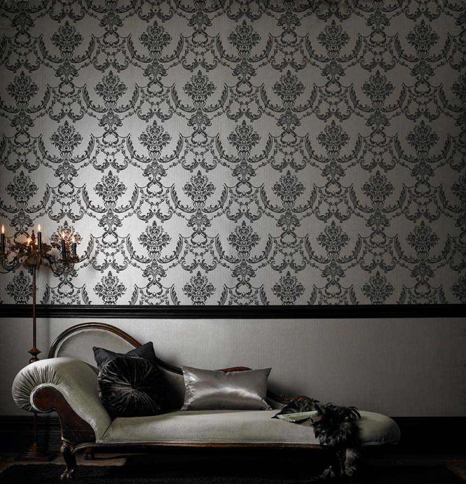 Archiv Wallpaper Satene black grey Room View