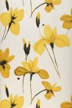 Papel pintado Tiara Mate Flores Blanco crema Amarillento claro Ocre Negro