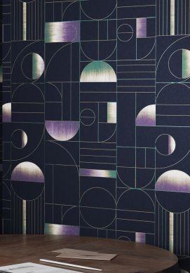 Papel pintado Duran azul acero Ver habitación