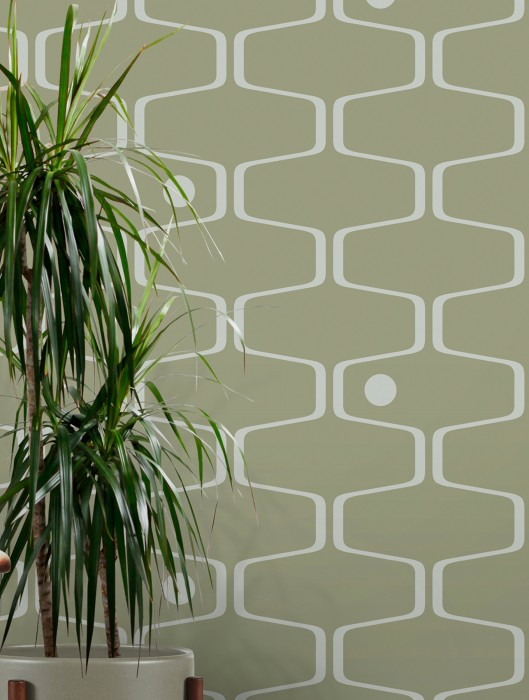 Wallpaper Nirvanus Matt Graphic elements Retro elements Light olive green White grey