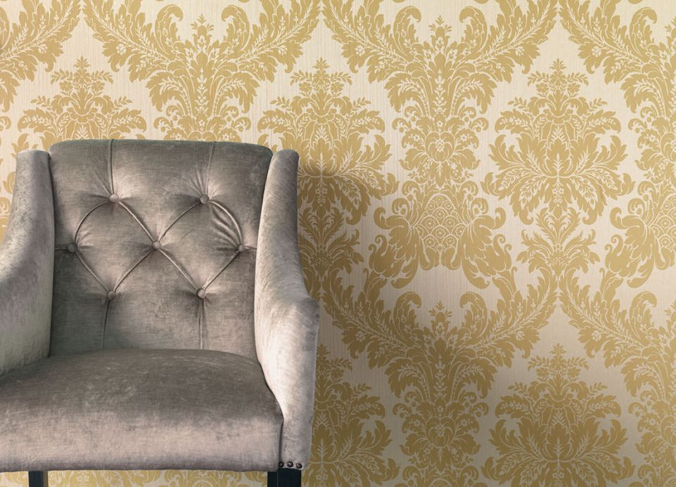Textile Wallpaper Wallpaper Odilia sand yellow Room View