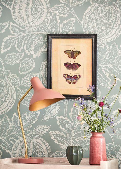 Botanical Wallpaper Wallpaper Valldemossa pale mint-turquoise Room View