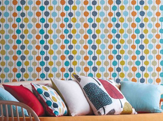 Papel pintado Almeda naranja Ver habitación