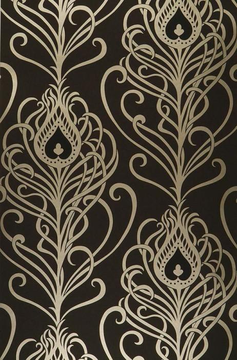 Wallpaper Elektra Shimmering pattern Matt base surface Peacock feathers Black Gold