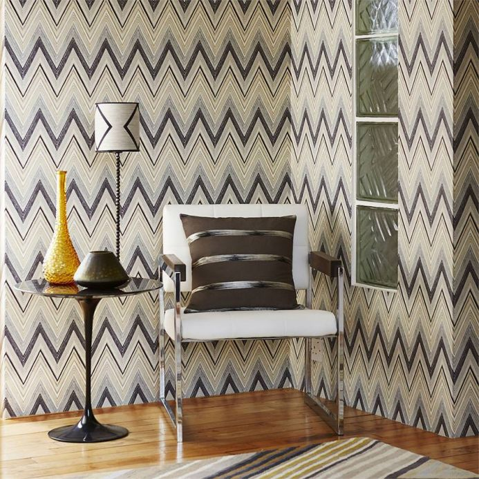 Papel de parede geométrico Papel de parede Vasuki antracite Ver quarto