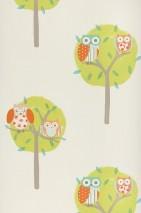 Wallpaper Romary Matt Trees Owls Cream Yellow green Grey beige Orange Turquoise