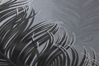 Wallpaper Feather Rain Matt Feathers Dark grey Anthracite grey Black Silver grey glitter