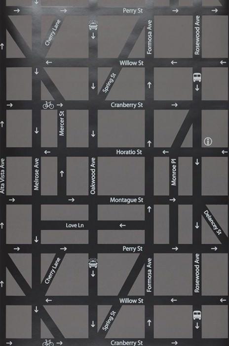 Wallpaper Pluto Matt City map Grey Black White