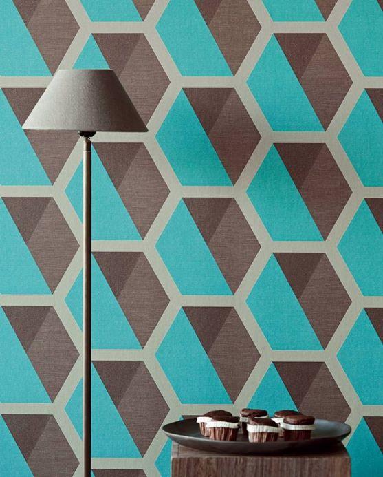 Geometric Wallpaper Wallpaper Hirolanit turquoise glitter Room View