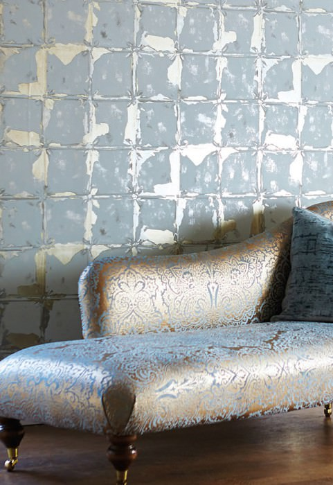 Wallpaper Abiona Metallic effect Shimmering Imitation glazed tiles Light grey White gold metallic