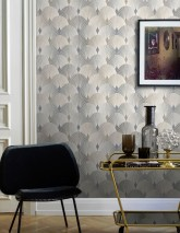 Wallpaper Sabia Matt Art Deco fans Beige grey Blue-grey shimmer Cream Grey beige shimmer Grey blue