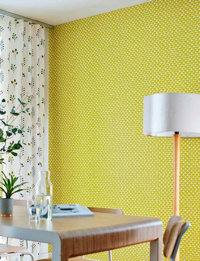 tapete darja cremeweiss gelbgr n tapeten der 70er. Black Bedroom Furniture Sets. Home Design Ideas
