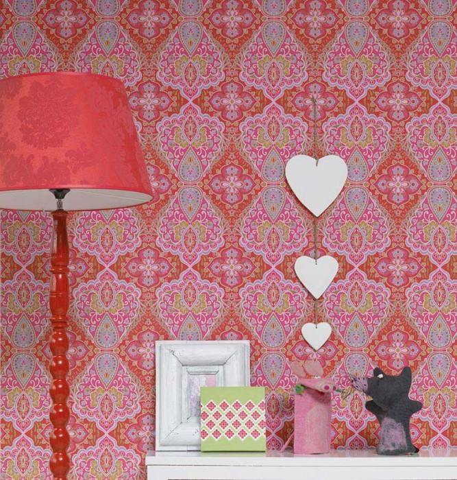 Wallpaper Rosmerta Fine linen look Matt Oriental damask Red Heather violet Green Pastel turquoise