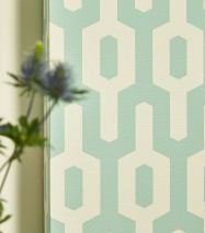 Wallpaper Zodiak Matt Retro elements Cream Pastel green