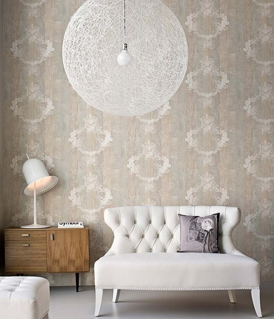Wallpaper vintage brown beige grey white wallpaper for Sala de estar vintage