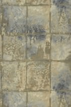 Wallpaper Marsius Matt Looks like textile Imitation glazed tiles Anthracite grey Brown grey Yellow grey