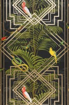 Wallpaper Grace Shimmering pattern Matt base surface Art Deco Palm fronds Animals Birds Anthracite Yellow Gold shimmer Shades of green Red