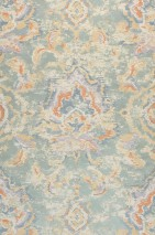 Wallpaper Lompal Matt Shabby chic Looks like textile Ethnic Ornaments Indian Style Pastel green Azure blue Beige Mint turquoise Orange Pastel violet