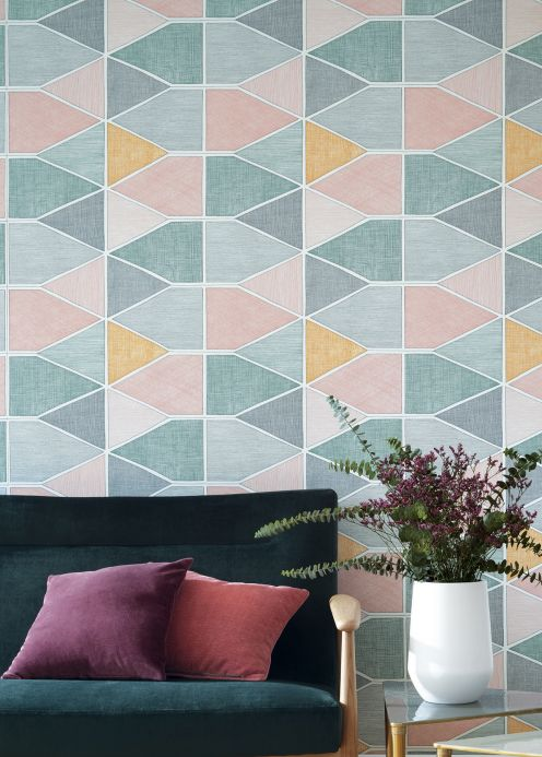 Geometric Wallpaper Wallpaper Enzo dark green Room View