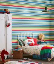 Wallpaper Jama Matt Stripes Beige Blue Green Pastel turquoise Red