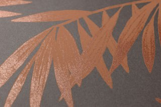 Wallpaper Aria Matt Palm fronds Grey brown Copper shimmer Orange brown