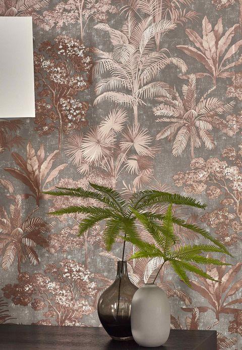 Botanical Wallpaper Wallpaper Alenia copper brown shimmer Room View