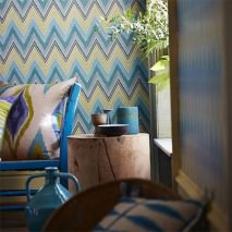 Wallpaper Vasuki Matt Zigzag Cream Yellow green Green Light blue grey Light turquoise blue