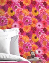 Wallpaper Carmellin Shiny Blossoms Fuchsia Daffodil yellow Silver