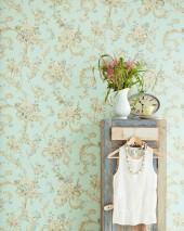 Wallpaper Aurora Hand printed look Matt Blossoms Floral damask Pale turquoise Blue Green Brown beige Cream Saffron yellow  Reed green