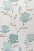 Wallpaper Magnolia Matt pattern Shimmering base surface Magnolias Oyster white shimmer Grey beige Mint turquoise