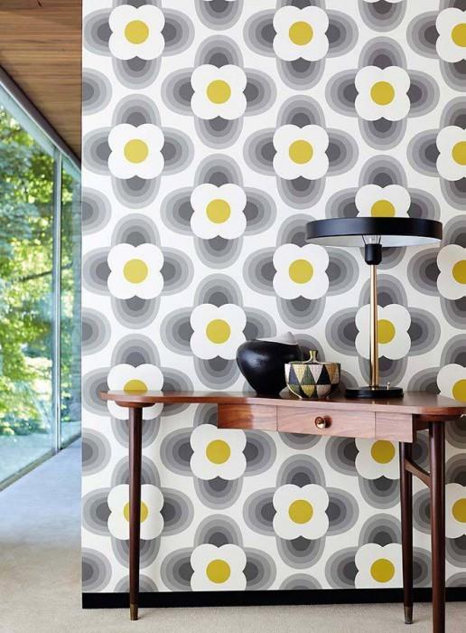 Wallpaper Selene Matt Stylised blossoms Cream Dark grey Yellow green Light grey