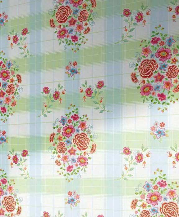 Wallpaper Tabaldak Matt Flowers Floral Elements Plaid White Golden yellow Pastel blue Pastel green Red