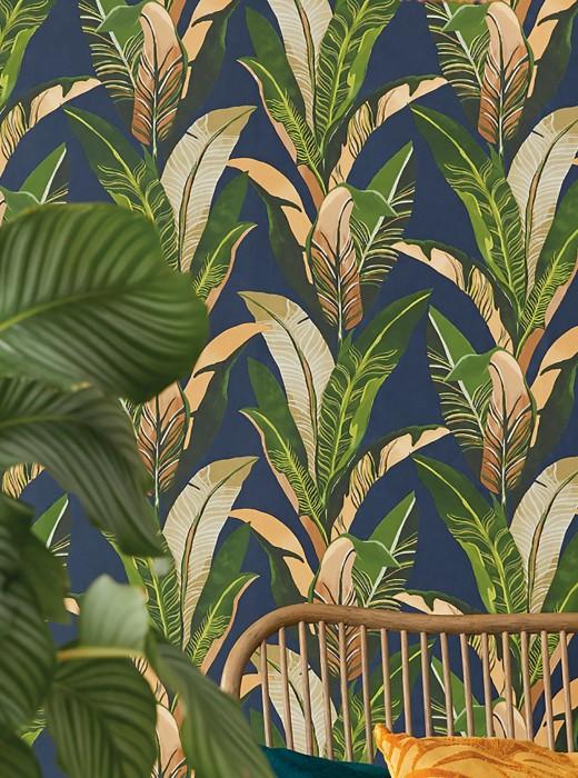 Papel pintado Lasita Mate Hojas Azul acero Beige parduzco Tonos de verde Beige claro