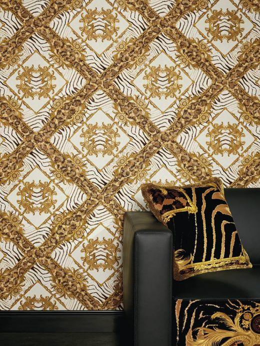 Carta da parati Versace Carta da parati Vincenza toni di marrone Visuale camera