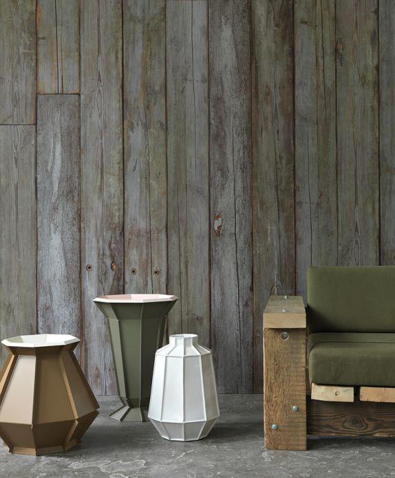 Papel pintado NLXL Papel pintado Scrapwood 14 gris verdoso Ver habitación