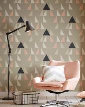 Papier peint Deneris Mat Triangles Gris clair  Blanc crème Beige gris clair Rosé clair Gris noir
