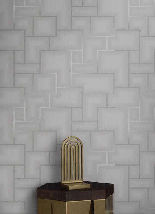 Geometrische Tapeten Tapete Adornado Hellgrau Raumansicht