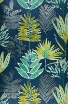 Wallpaper Hilma Matt Leaves Ocean blue Fern green Green yellow Pearl beige Turquoise green Pastel green