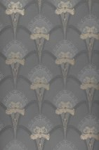 Wallpaper Liandra Matt Art nouveau damask Lilies Grey Dark grey Light grey Pearl gold