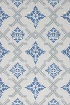 Papel de parede Lavinia Efeito estampado à mão Mate Damasco histórico Losangos Branco acinzentado Azul celeste Cinza azulado