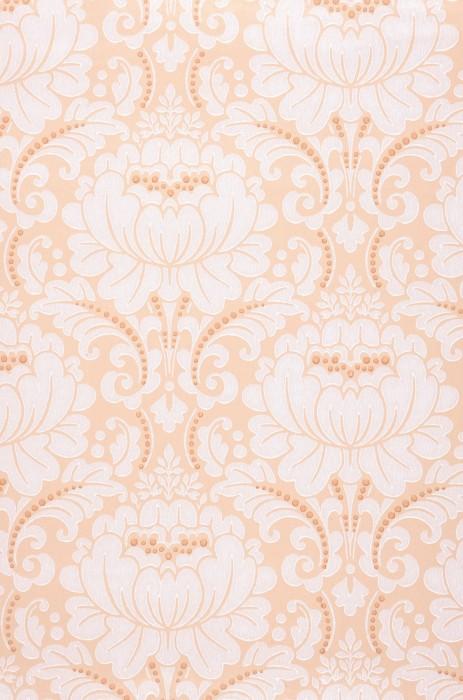 Papel de parede Charlene Efeito estampado à mão Mate Damasco art nouveau Flores estilizadas Bege Bege pardo Branco creme