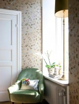 Wallpaper Vanesa Matt pattern Shimmering base surface Butterflies Pearl gold Fern green Grey brown Light pink White