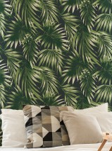 Wallpaper Zohra Matt Leaves Palm fronds Black green Leaf green White grey