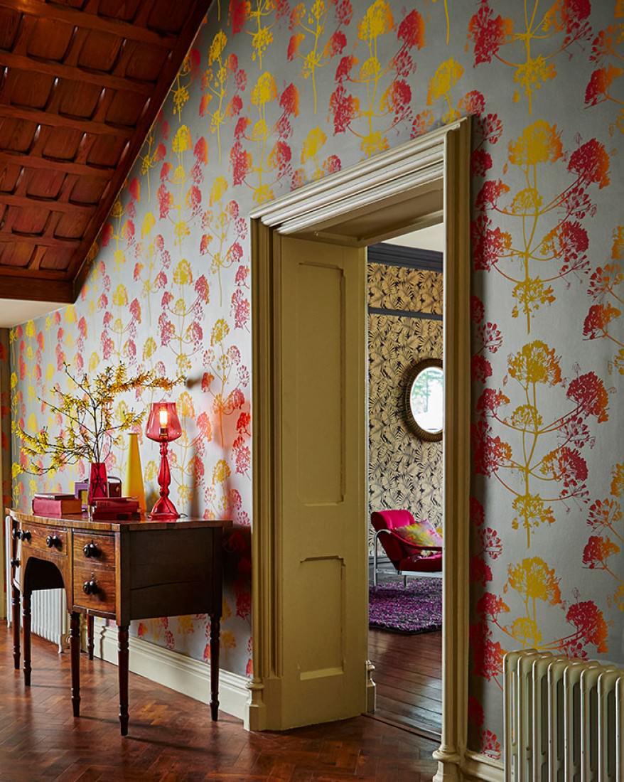 tapete emorie perlbeige gelb himbeerrot orange tapeten der 70er. Black Bedroom Furniture Sets. Home Design Ideas